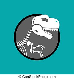 Dinosaur skeleton isolated. Remains of Tyrannosaurus. Skull T-Rex. Prehistoric monster. Ancient reptiles. Predator Jurassic