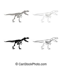 Dinosaur skeleton T rex icon outline set grey black color