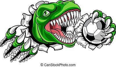 Dinosaur Soccer Football Player Sports Mascot