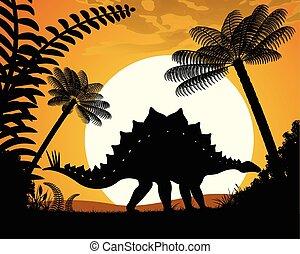 Dinosaur Stegosaurus. - Stegosaurus silhouette on sunset...