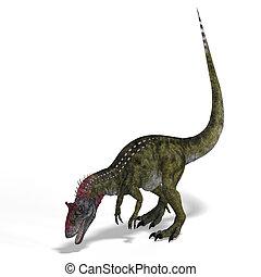 dinosaur - frightening dinosaur cryolophosaurus With...
