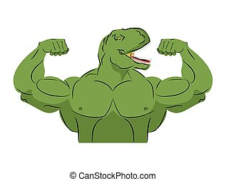Dinosaur strong athlete. Angry fitness Tyrannosaurus. Wild animal bodybuilder with huge muscles. Prehistoric reptile. Ancient predator. Animal Jurassic. Bodybuilder large fangs. Sports team mascot