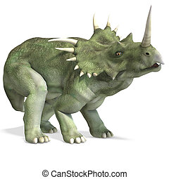 Dinosaur Styracosaurus. 3D rendering with clipping path and...