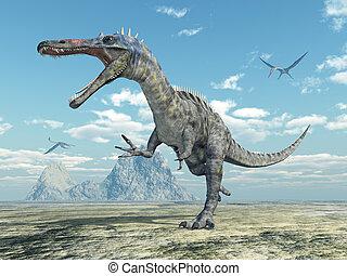Dinosaur Suchomimus and pterosaur Quetzalcoatlus - Computer...