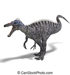 Dinosaur Suchominus. 3D rendering with clipping path and...