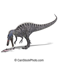 Dinosaur Suchominus. 3D rendering with clipping path and shadow over white