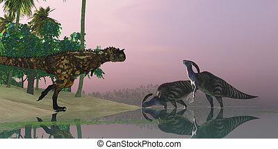 Dinosaur Swamp - A Carnotaurus dinosaur attacks two...