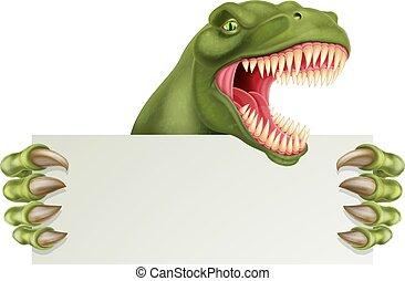 Dinosaur T Rex Holding Sign Cartoon - A scary dinosaur T Rex...