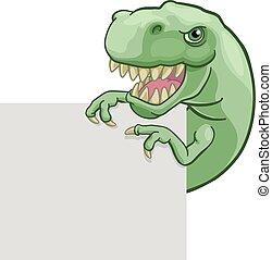 Dinosaur T Rex Peeking and Pointing Sign Cartoon - A...