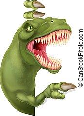 Dinosaur T Rex Peeking and Pointing Sign Cartoon - A scary...