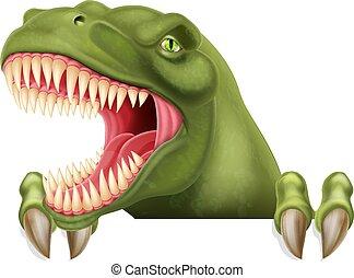Dinosaur T Rex Peeking Over Sign Cartoon - A scary dinosaur...