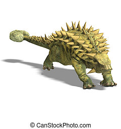 Dinosaur Talarurus. 3D render with clipping path and shadow...