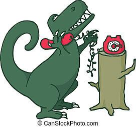 Dinosaur talking on the phone