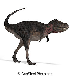 Dinosaur Tarbosaurus. 3D rendering with clipping path and ...
