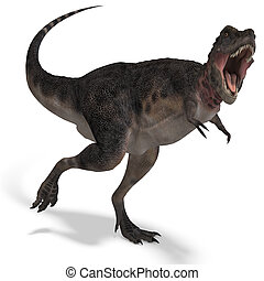 Dinosaur Tarbosaurus. 3D rendering with clipping path and...