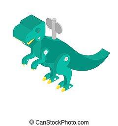 Dinosaur toy clockwork. Vintage Tyrannosaurus and key. Dino T-rex