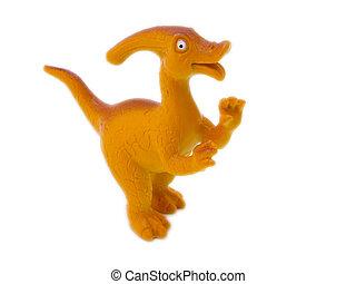 Parasaurolophus prehistoric era dinosaur on white