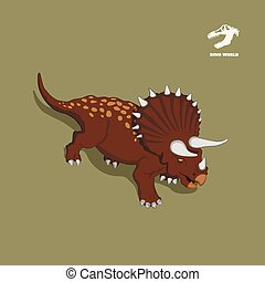 Dinosaur triceratops in isometric style. Isolated image of jurassic monster. Cartoon dino 3d icon