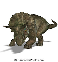 Dinosaur Triceratops. 3D render with clipping path and...