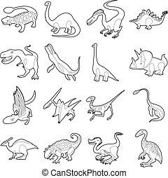 Dinosaur types icons set, outline style