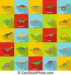 Dinosaur types signed name icons set, flat style - Dinosaur...