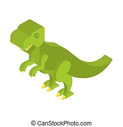 Dinosaur Tyrannosaurus isometric. Prehistoric monster with teeth 3D. Ancient reptile of Jurassic period. T-rex animal predator