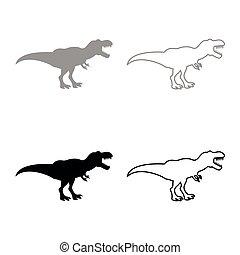 Dinosaur tyrannosaurus t rex icon set grey black color...