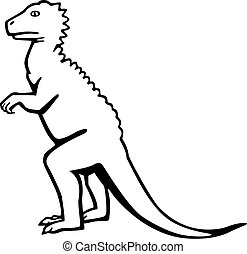 vector illustration of a dinosaur or monster standing upright, with claws and spikes on its head and back