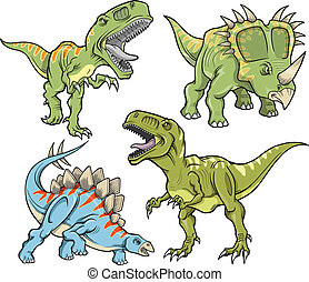 Dinosaur Vector Illustration Set - Dinosaur Vector...