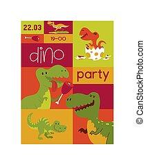 Dinosaur vector seamless pattern kids tyrannosaurus rex...