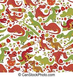Dinosaur vector seamless pattern tyrannosaurus rex cartoon...