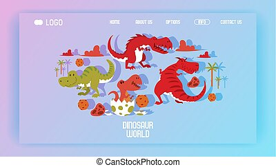 Dinosaur vector web-page tyrannosaurus rex cartoon character...