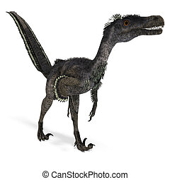 Dinosaur Velociraptor. 3D rendering with clipping path and ...