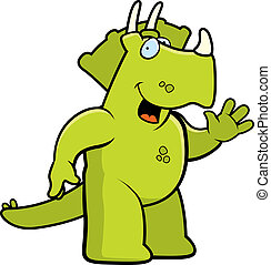 Dinosaur Waving - A happy cartoon dinosaur waving and ...