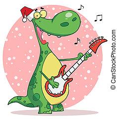 Dinosaur Wearing A Santa Hat