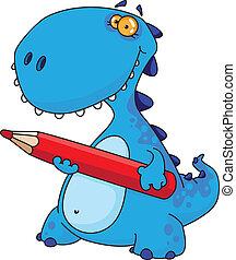 dinosaur with a pencil