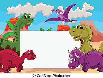 dinosaur with blank sign - vector illustration of funny...