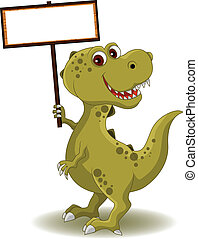 dinosaur with blank sign
