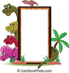 vector illustration of funny dinosaur cartoon with blank sign