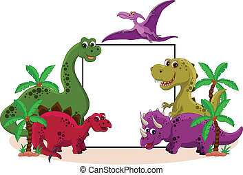 dinosaur with blank sign - vector illustration of funny ...