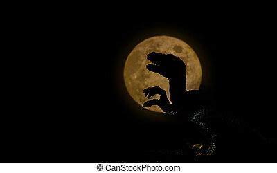 dinosaur with full moon, silhouette on dark night