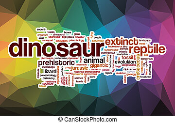Dinosaur word cloud with abstract background