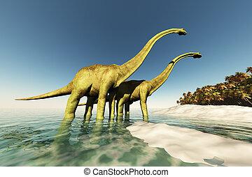 DINOSAUR WORLD - Two Diplodocus dinosaurs wade through...