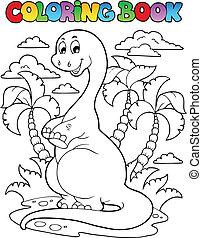 dinosaure, 2, livre coloration, scène