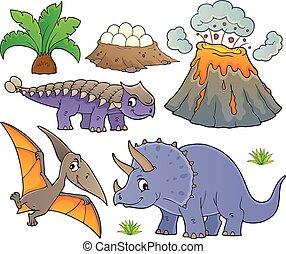 dinosaure, 9, ensemble, topic
