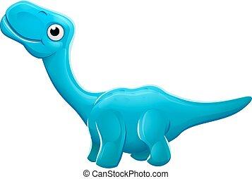 dinosaure, apatosaurus, dessin animé, mignon