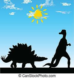 dinosaure, art, vecteur, silhouette, illustration