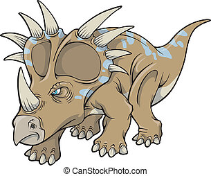 dinosaure, art, vecteur, triceratops