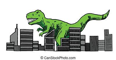 dinosaure, attaquer, ville