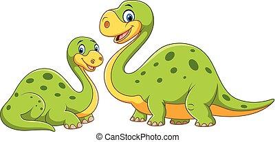 dinosaure, bébé, mère, heureux